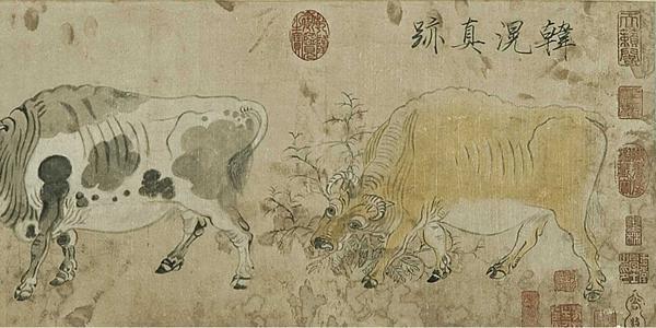 韓滉,長安人,唐德宗時任右丞相,作品以描寫農村生活風俗為特點,尤善畫牛而著名於當時,他用凝重,滯拙的線條勾畫出牛粗厚的皮紋和強壯的筋骨,雖然姿態各異、角度不同,他的比例透視關係、骨骼結構均處得非常精確,牛的神韻淳樸,穩重描學得形神具備。宋徽宗題韓滉真跡於卷首,宋宰相賈似道題八牛圖為首引,卷後明沈貞吉、祝枝山題跋讚賞。此圖曾入宋元明清內府。